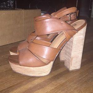 Brown Faux Leather Block Heels